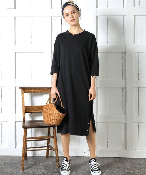 [Chaco closet] ミニ裏毛サイドスナップ付き五分袖ロング丈ワンピース