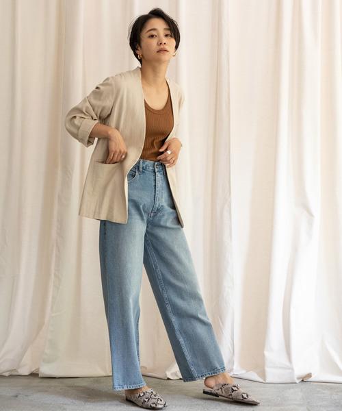[LANDWARDS] リネンノーカラーサマージャケット【雑誌Gina2019summer号掲載】
