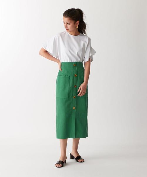 [EMMEL REFINES] 【EMMEL REFINES】〔ハンドウォッシャブル〕SMF HW C/LI フロントボタンスカート