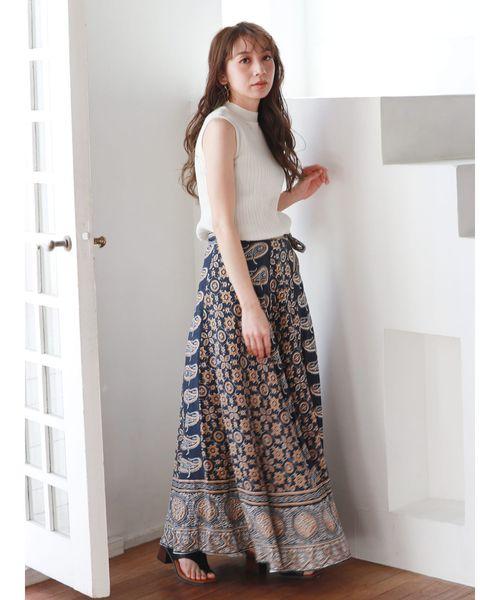 [Ungrid] ペイズリープリントラップスカート2