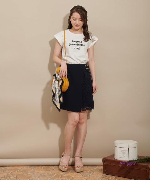 [Noela] ラップレース台形スカート
