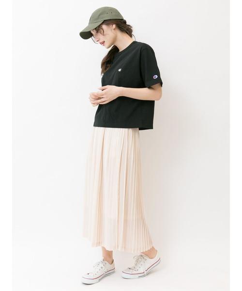 [E hyphen world gallery] 【別注】Champion刺繍Tシャツ