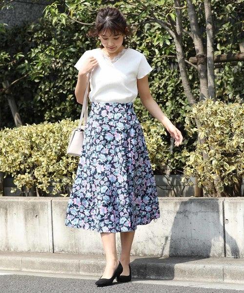 [ViS] ジョーゼット花柄フレアスカート