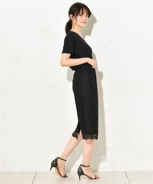 [un dix cors] コードレースタイトスカート