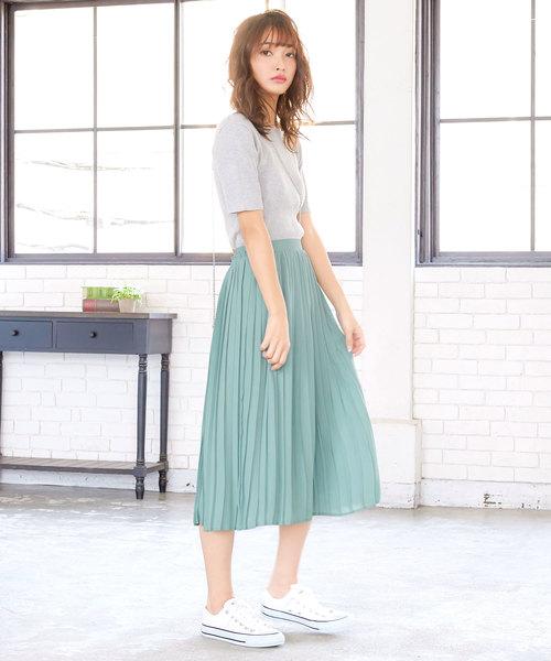 [ミディアムorマキシ丈]2typeフレアプリーツスカート
