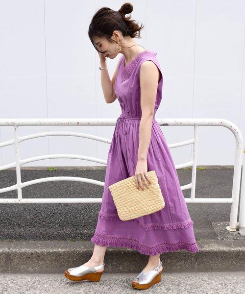 [SHIPS for women] Khaju:レースフリンジワンピース19SS◇