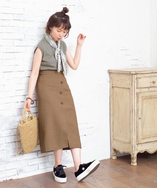 [titivate] リネンライクフェイクラップ台形スカート