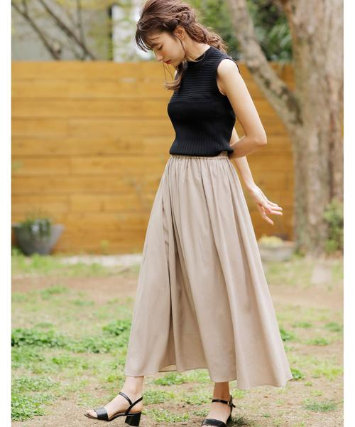 麻ギャザーロング/スカート