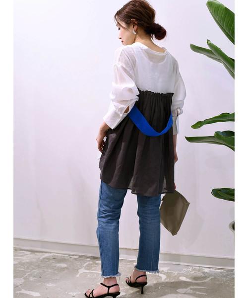[Eimee Law & WASH] 【Eimee Law】ベルト付きバックタックロングシャツ