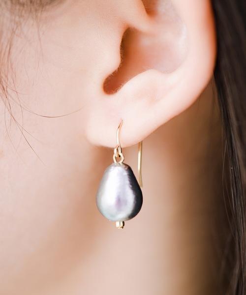 [haco!] さりげなく耳もとで揺れる コットンパールのシンプルイヤアクセ <1:ピアス 2:イヤリング>