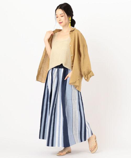 11[SHIPS for women] soie:ストライプギャザースカート
