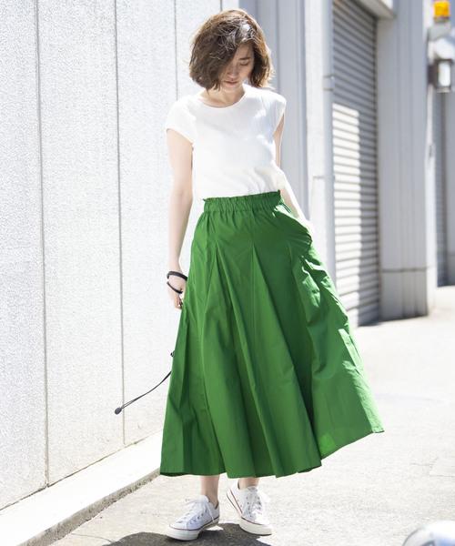 [YARD PLUS/AUNT MARIE'S] AUNT MARIE'S ポプリンボリュームロングスカート