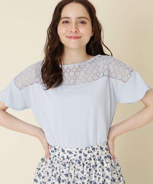 [Couture brooch] 【WEB限定サイズ(S・LL)あり】【手洗い可】2WAYレースカットソー