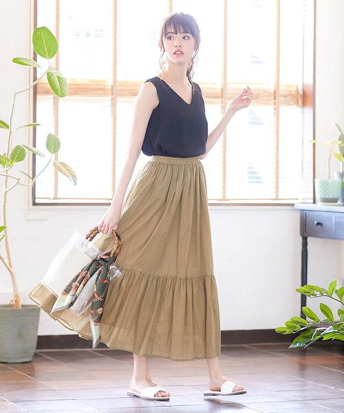 [kobelettuce] リネンタッチ裾ティアードマキシ丈フレアスカート