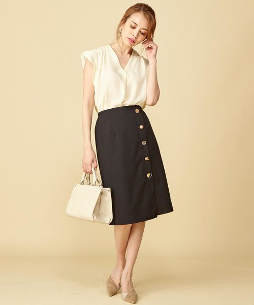 [Roomy's] 【WEB限定】ランダムボタンタイトスカート