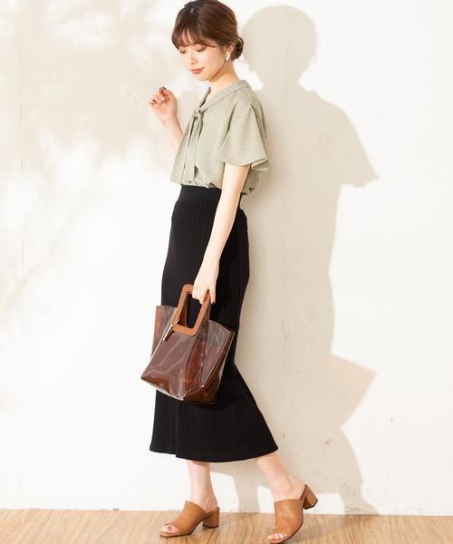 [natural couture] レトロジャガードゆるタイトスカート