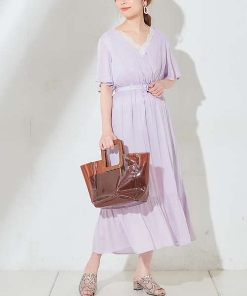 [natural couture] ワッシャー楊柳リゾートワンピース