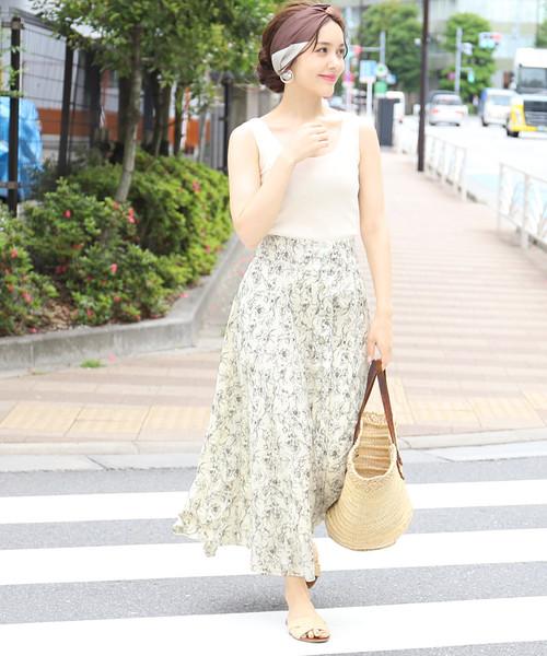 [coca] フロントボタンクラシックフラワースカート
