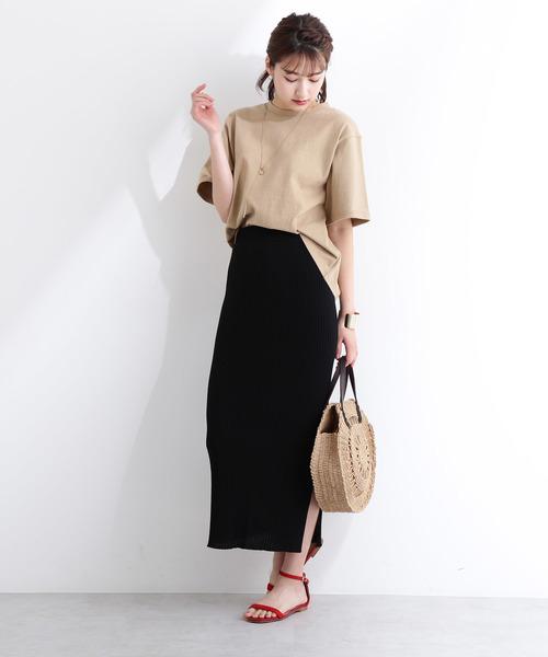 [N.(N. Natural Beauty Basic)] 透かし柄引き揃えニットスカート