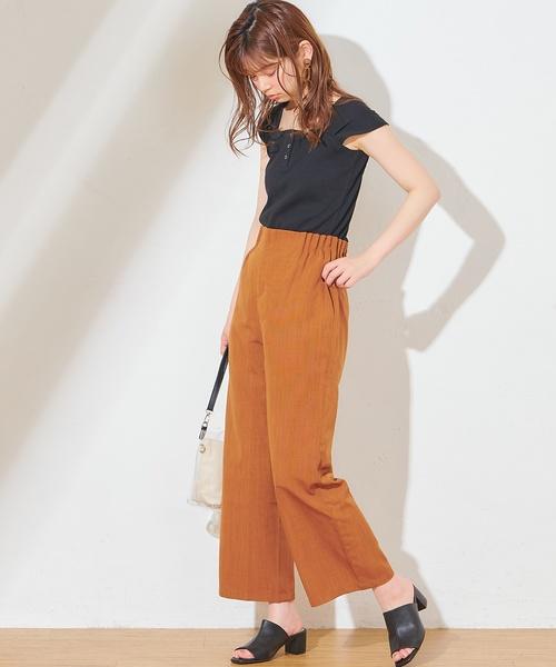 [natural couture] サイドウエストタックてろっとパンツ