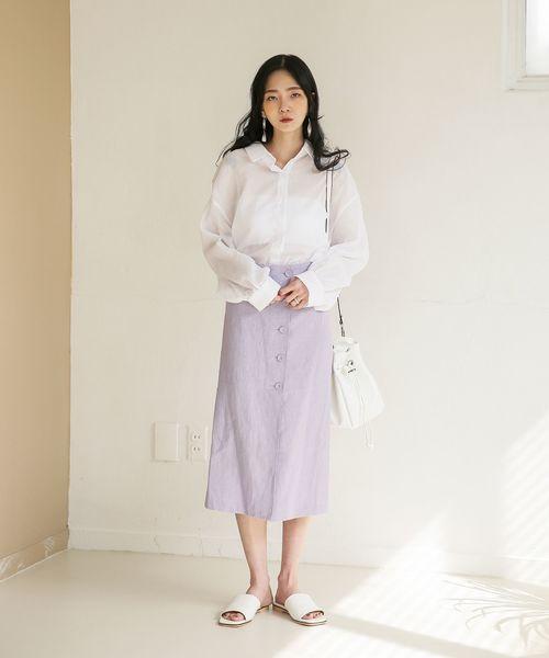 韓国コーデ スカートスタイル