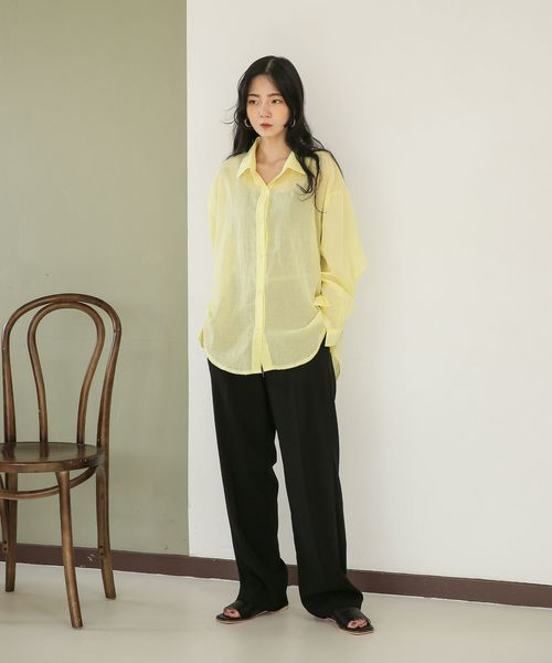[UNE MANSION] シースルービタミンカラーシンプルシャツ