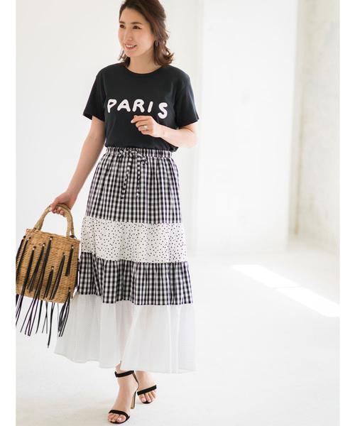《高田麻紀子さんコラボ》ギンガム&ドットティアード切替スカート