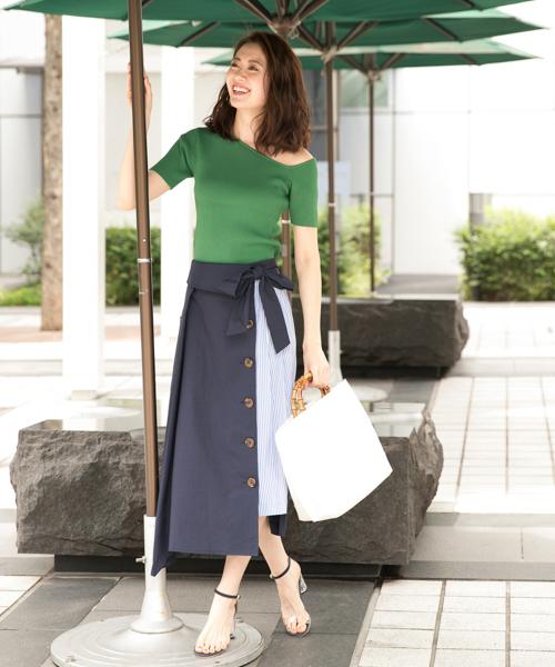 [Andemiu] 【WEB限定】アシメニットTシャツ840894