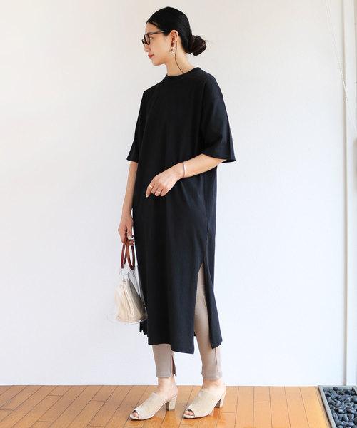 [and Me(アンドミー)] マキシ丈コットン天竺半袖Tシャツワンピース
