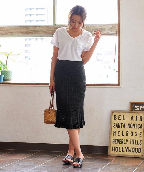 [kobelettuce] 透かし編みニット裾フリルタイトスカート
