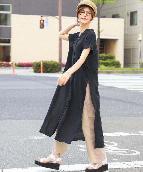 [Fashion Letter] シャツワンピース スリット入り