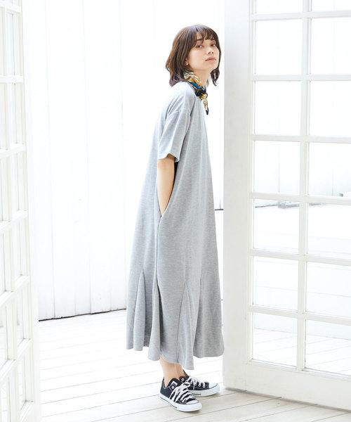 [Chaco closet] ビックシルエットスウェットフレア半袖ワンピース