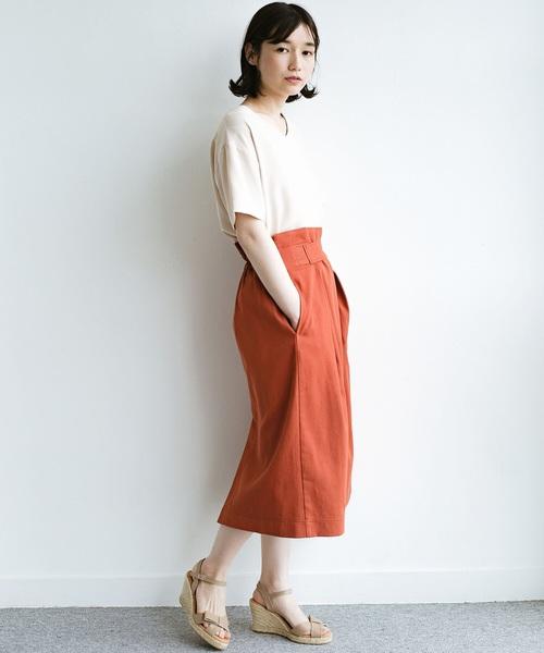[haco!] 【洗濯機洗いOK】ボタンがポイントのカジュアルにもきれいにもはけるセミタイトスカート