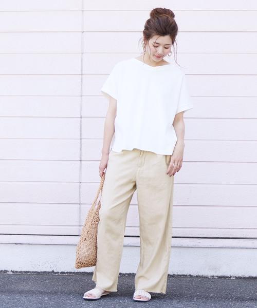 [reca] 裾フリンジリネンワイドパンツ