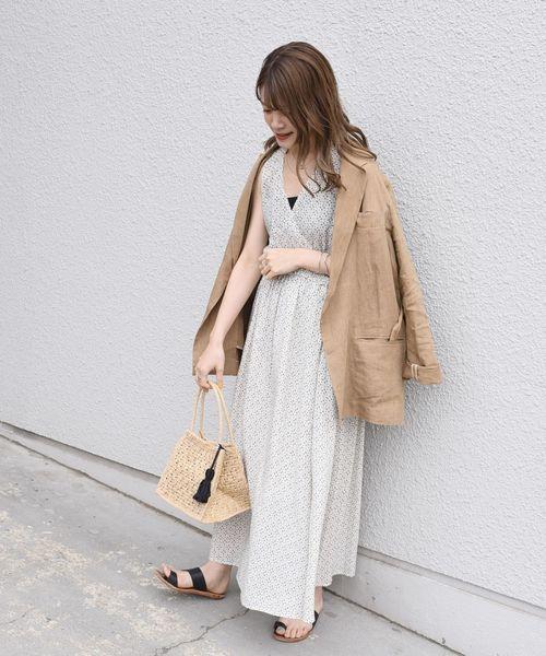 [SHIPS for women] 小紋プリントカシュクールワンピース◇