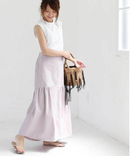 [M y u] 裾フレアチノスカート
