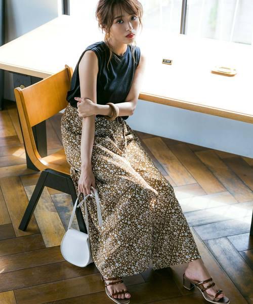 [kobelettuce] [近藤千尋さんコラボ]小花柄ラップスカート+ワイドパンツ2点セット