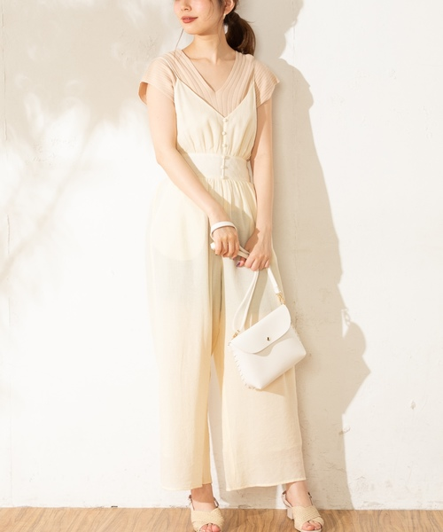 [natural couture] 楊柳おしゃれサロペ