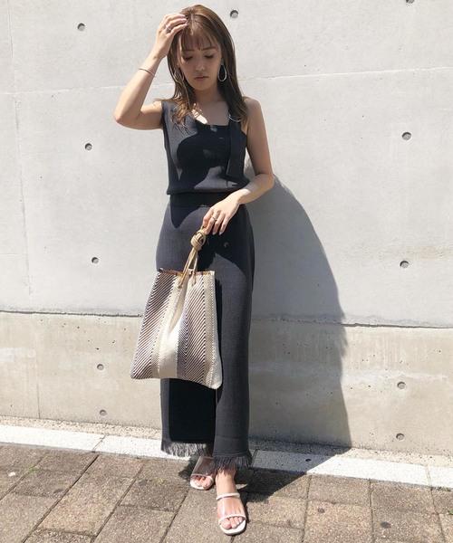 [UNRELISH] 裾フリンジニットスカート