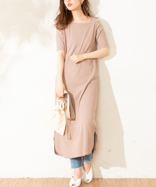 [natural couture] ワンショルストラップテレコワンピ