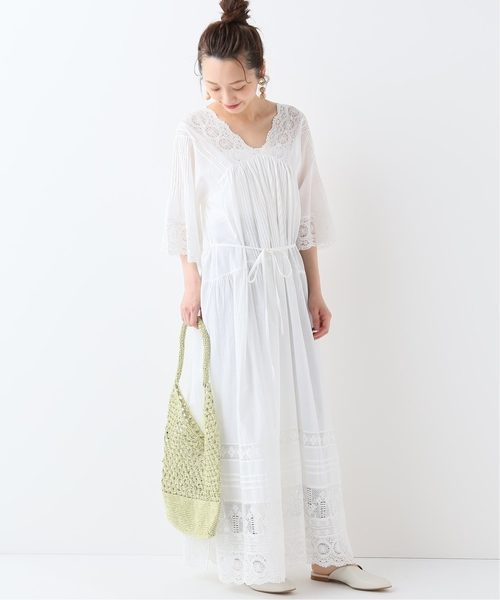 [IENA] SALA MALLIKA LACE GATHER ロングワンピース