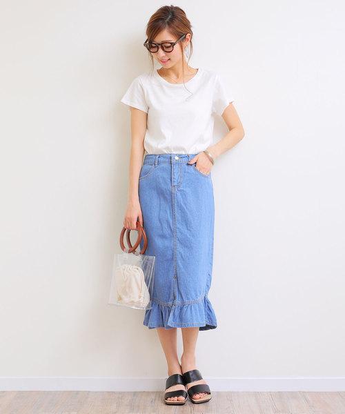 [and Me(アンドミー)] デニム裾フレアタイトスカート