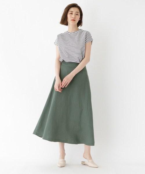 【洗える】リネンキャンバスフレアミディスカート