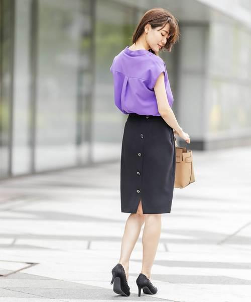 [12Twelve Agenda] 前後2WAY釦付きタイトスカート