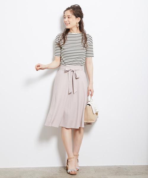 [ROPE' PICNIC] 麻調リボン付きフレアスカート