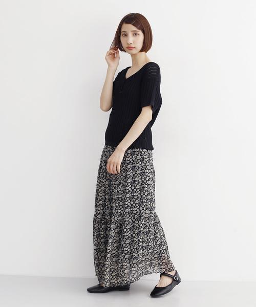 [merlot] 花柄ティアードスカート3248
