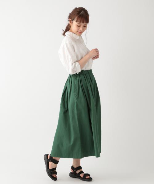 コットンリヨセルカラーギャザースカート[WEB限定プチサイズ]