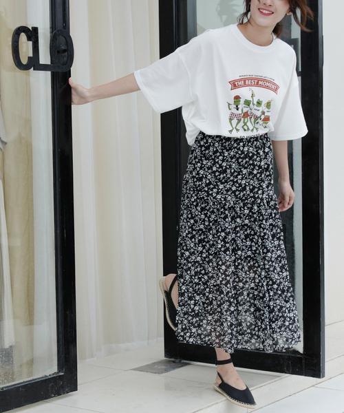 [Futierland&SASA] ぼかし小花柄ティアードロングスカート