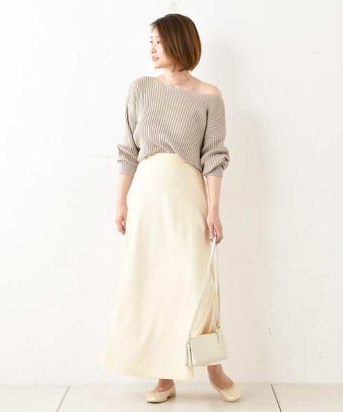 [DouDou] サテンマキシスカート