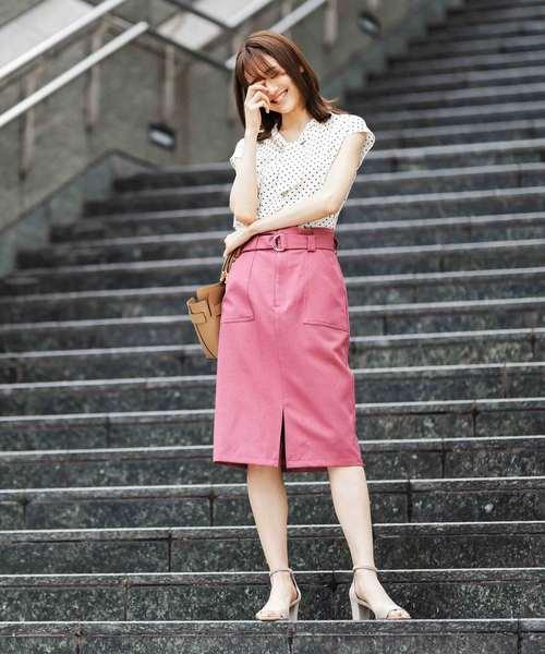 [12Twelve Agenda] ベルト付リネンライクタイトスカート